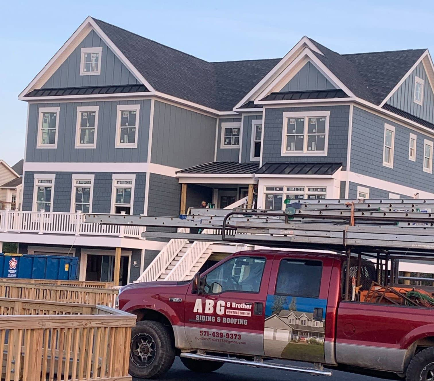 abg truck and big blue house